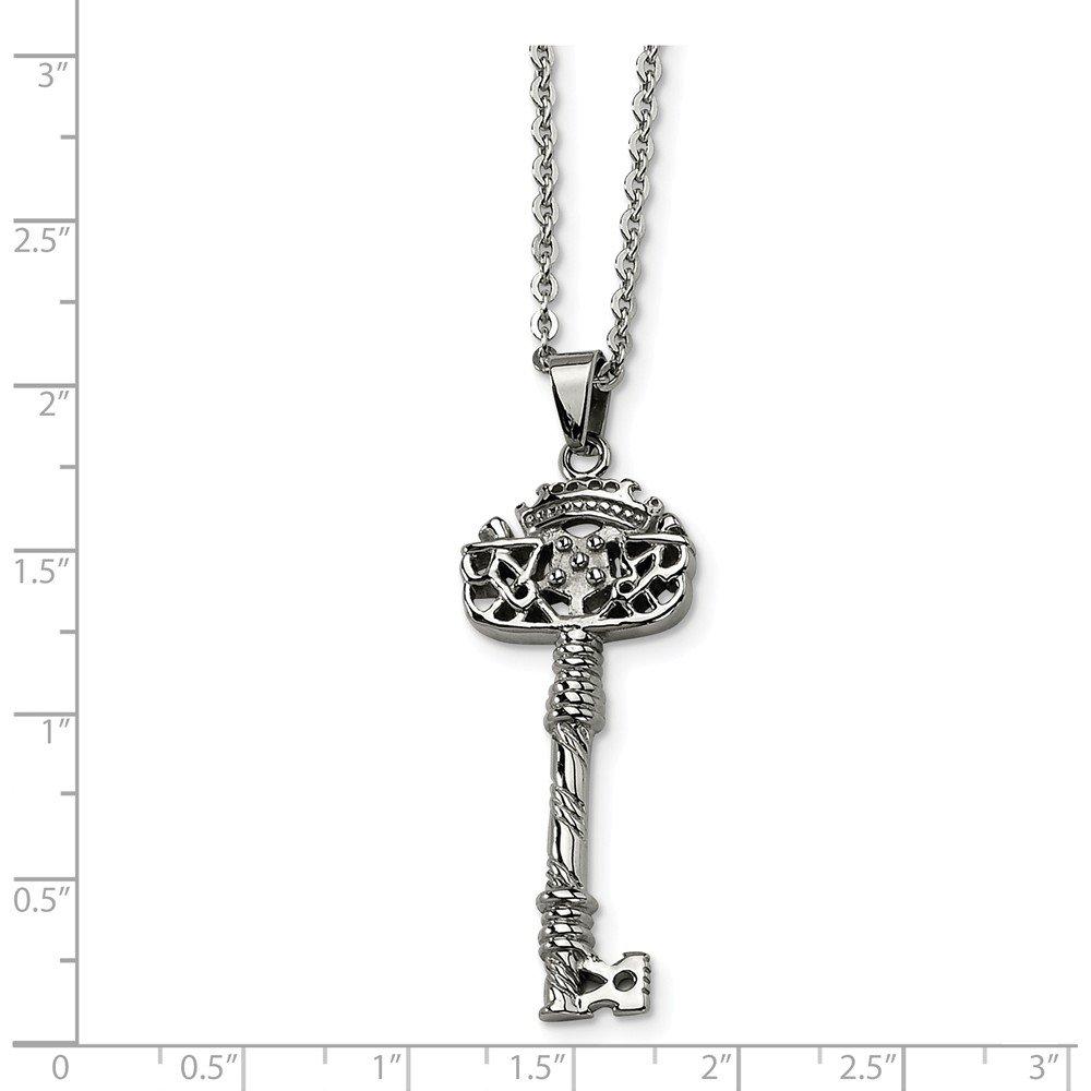 2mm Jewel Tie Stainless Steel Fancy Key Pendant Necklace