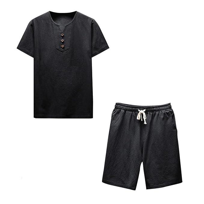 3680b4e7f63c Men Tops Pants Set Daoroka Men s Plus Size Summer Comfy Fashion Casual  Short Sleeve Blouses T