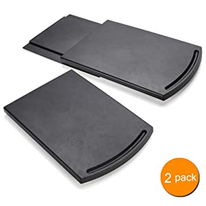 "Appliance Caddy Sliding Coffee Maker Tray, 12"" Coffee Pot Slider Machine Mat Under Countertop Rolling Tray for Blender Toaster with Smooth Rolling Wheels(2 Pack,Black)"