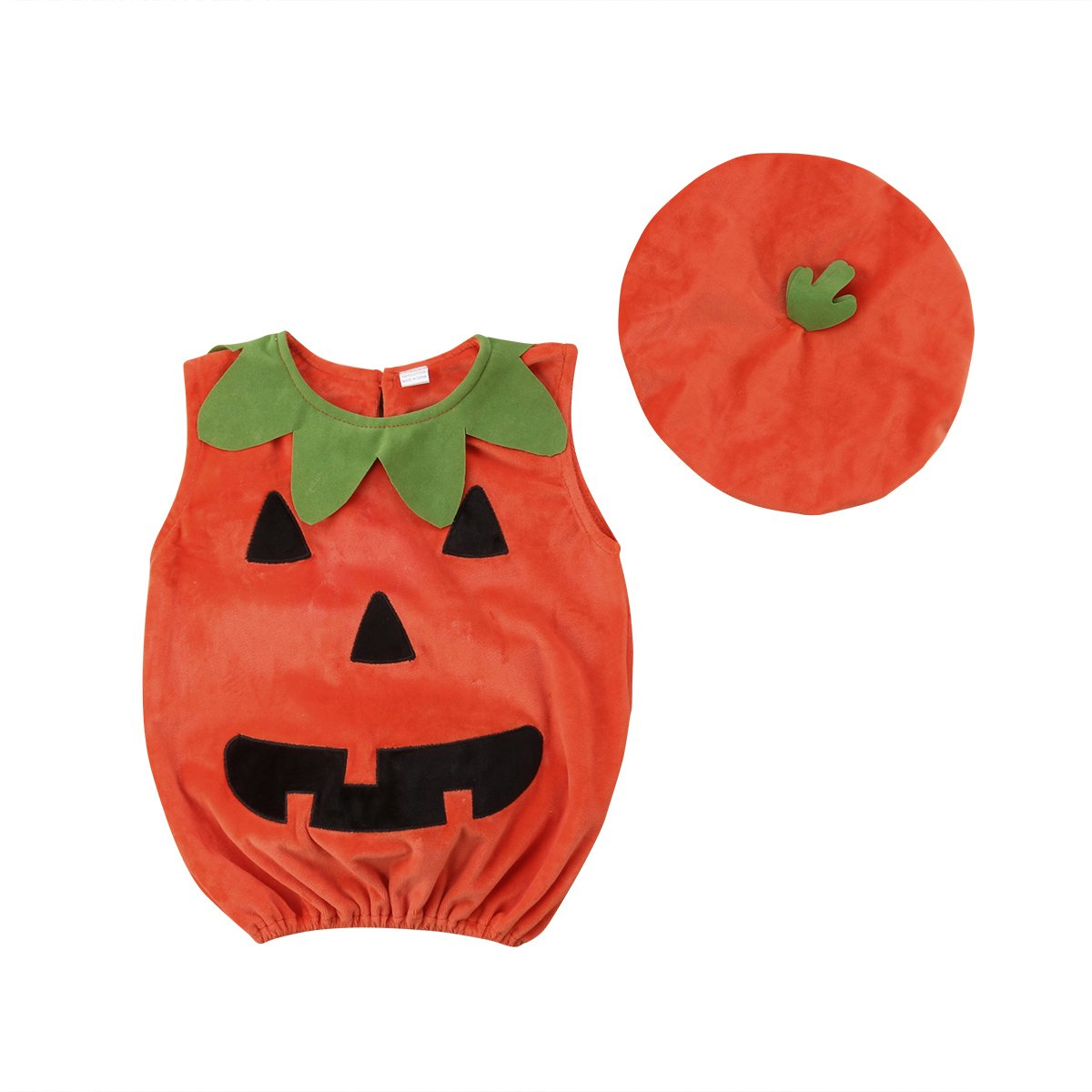Toddler Infant Baby Boy Girl Pumpkin Halloween Costumes Romper Bodysuit Outfit with Hat 90/6-12 Months