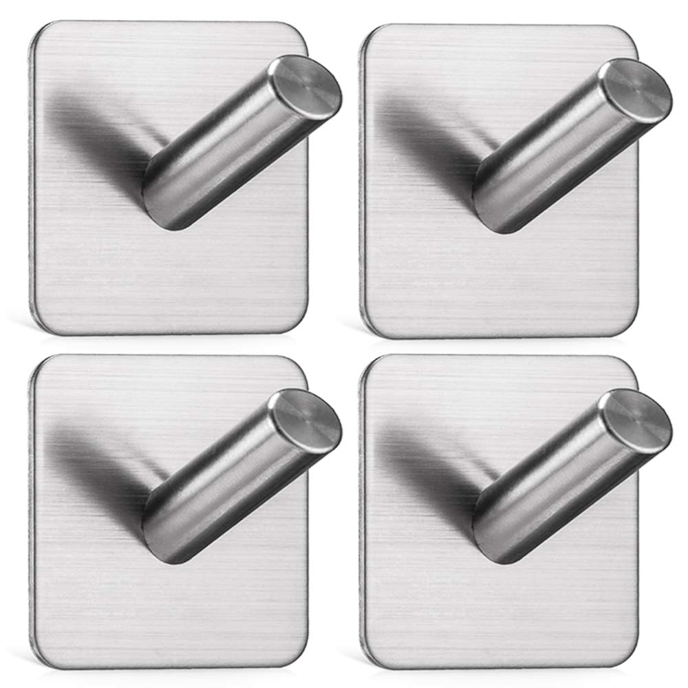 Jekoo Heavy Duty Adhesive Wall Hooks, Towel Hooks with Stainless Steel Stick On Home Bathroom Kitchen Ideal for Robes, Umbrellas, Clothes, Bags, Coats, Calendars, Keys - 4 Packs