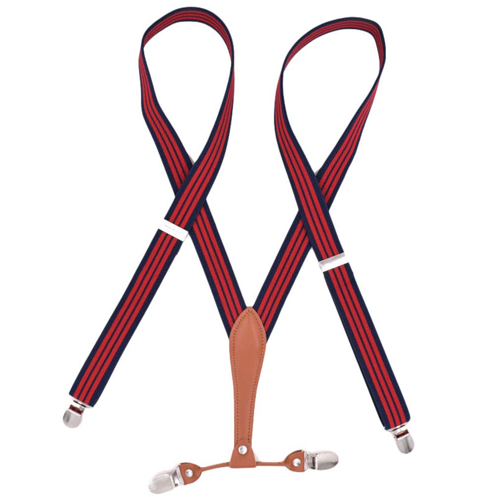 Womens Durable Wide Elastic Adjustable Trouser Braces Suspenders with Strong Metal Clips