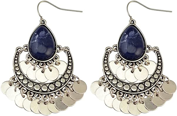 YAZILIND Bohemian Chandelier Teardrop Resin Dangle Drop Earrings Gypsy Lightweight Disc Charm Tassels Ethnic Hoops Dark Blue