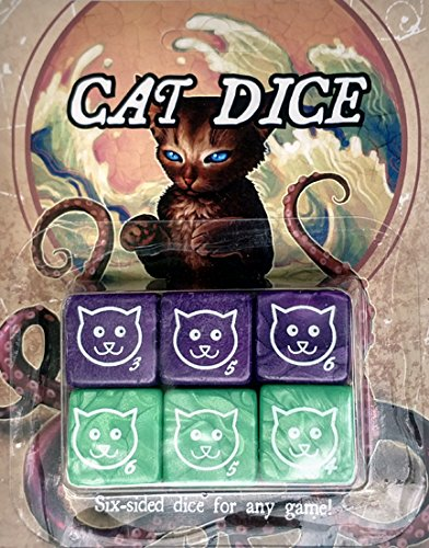 Cat Dice, 6 pack (Purple and Green) by CATTHULHU (Image #1)