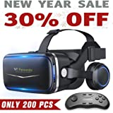 Pansonite Vr Headset with Remote Controller, 3D Glasses Virtual Reality Headset for VR Games & 3D Movies, Eye Care System for iPhone and Android Smartphones (Sb-Black)