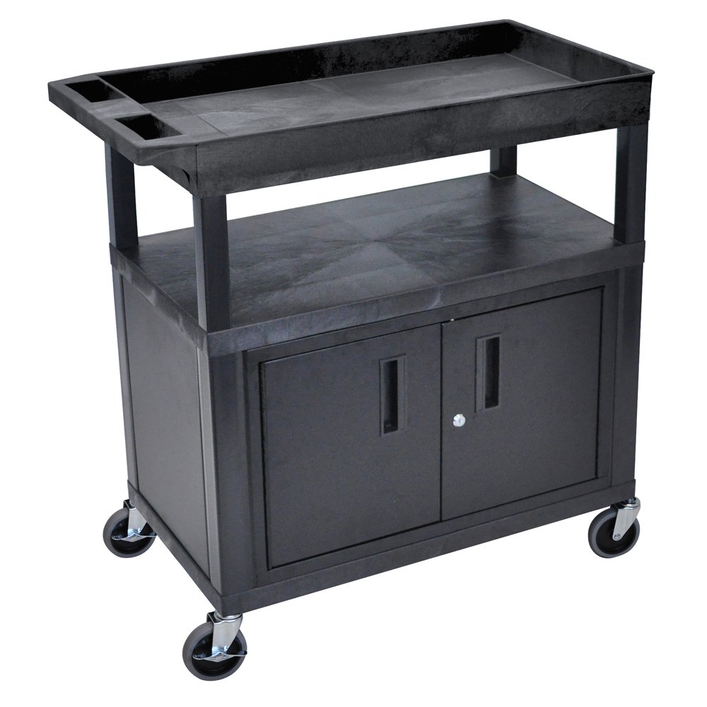 Luxor Home Office 32''x 18'' Utility Cart - Two Flat/One Tub Shelves with Cabinet by Luxor (Image #1)