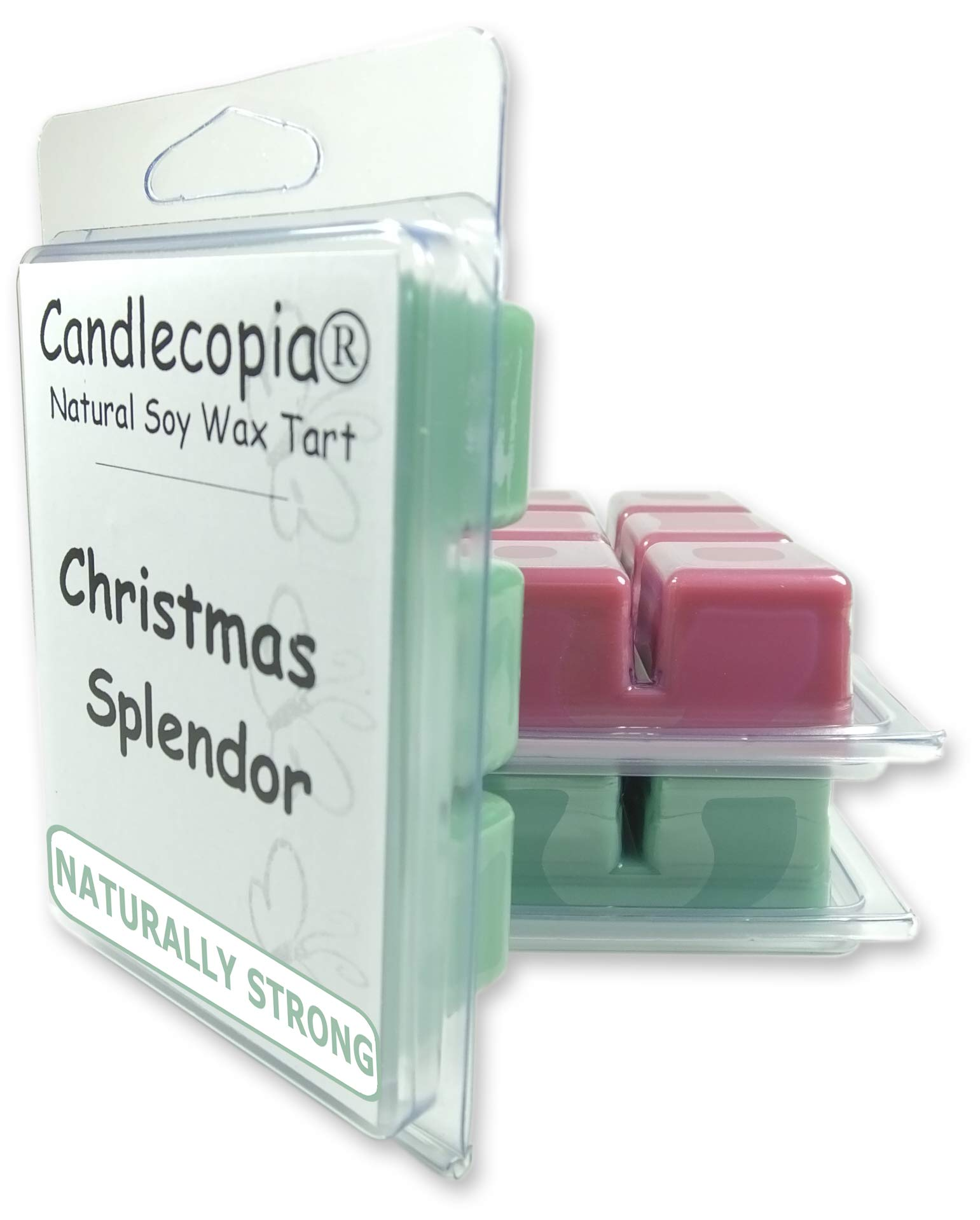 Candlecopia Christmas Hearth, Mistletoe and Christmas Splendor Strongly Scented Hand Poured Vegan Wax Melts, 18 Scented Wax Cubes, 9.6 Ounces in 3 x 6-Packs