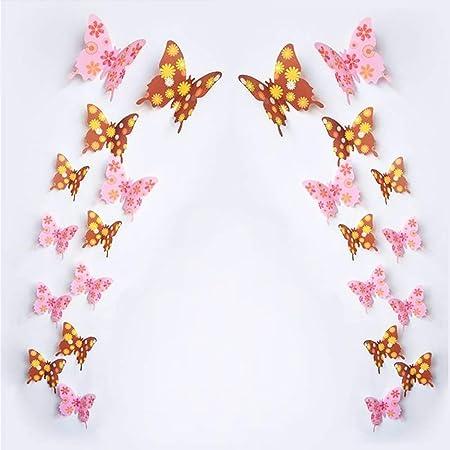 12pcs 3D Papillon Mural Chambre Décoration murale decol Décoration Art 3D Stickers