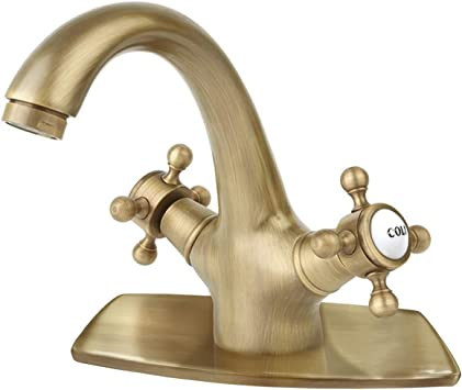 Gold Polished Dual Knobs Basin Faucet Single Hole Vanity Sink Mixer Tap Bathroom