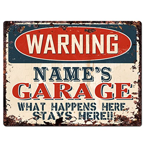 Personalized Tin Signs - WARNING NAME'S GARAGE Custom Personalized Tin Chic Sign Rustic Vintage style Retro Kitchen Bar Pub Coffee Shop Decor 9