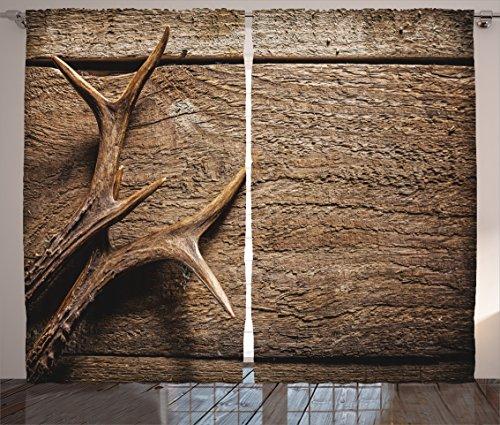 "Ambesonne Antlers Curtains, Deer Antlers on Wood Table Rustic Texture Surface Hunting Season Fall Gathering Art, Living Room Bedroom Window Drapes 2 Panel Set, 108"" X 84"", Umber"
