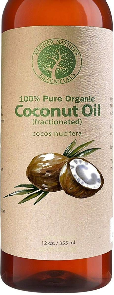Organic Fractionated Coconut Oil Skin - 100% Pure & Natural. 12oz Wildcrafted & Organic. The Best Carrier Oil + Massage Oil + Moisturizer. Perfect for Roller Balls and Nail Oil Pens. by Mother Nature's Essentials