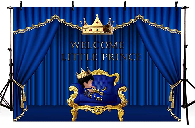 HUAYI dark blue stage curtain with boy avatar crown and gift backdrop celebration baby shower decorations banner photo studio props welcome baby themed party decoration polyester fabric US-W-891-5/×3ft