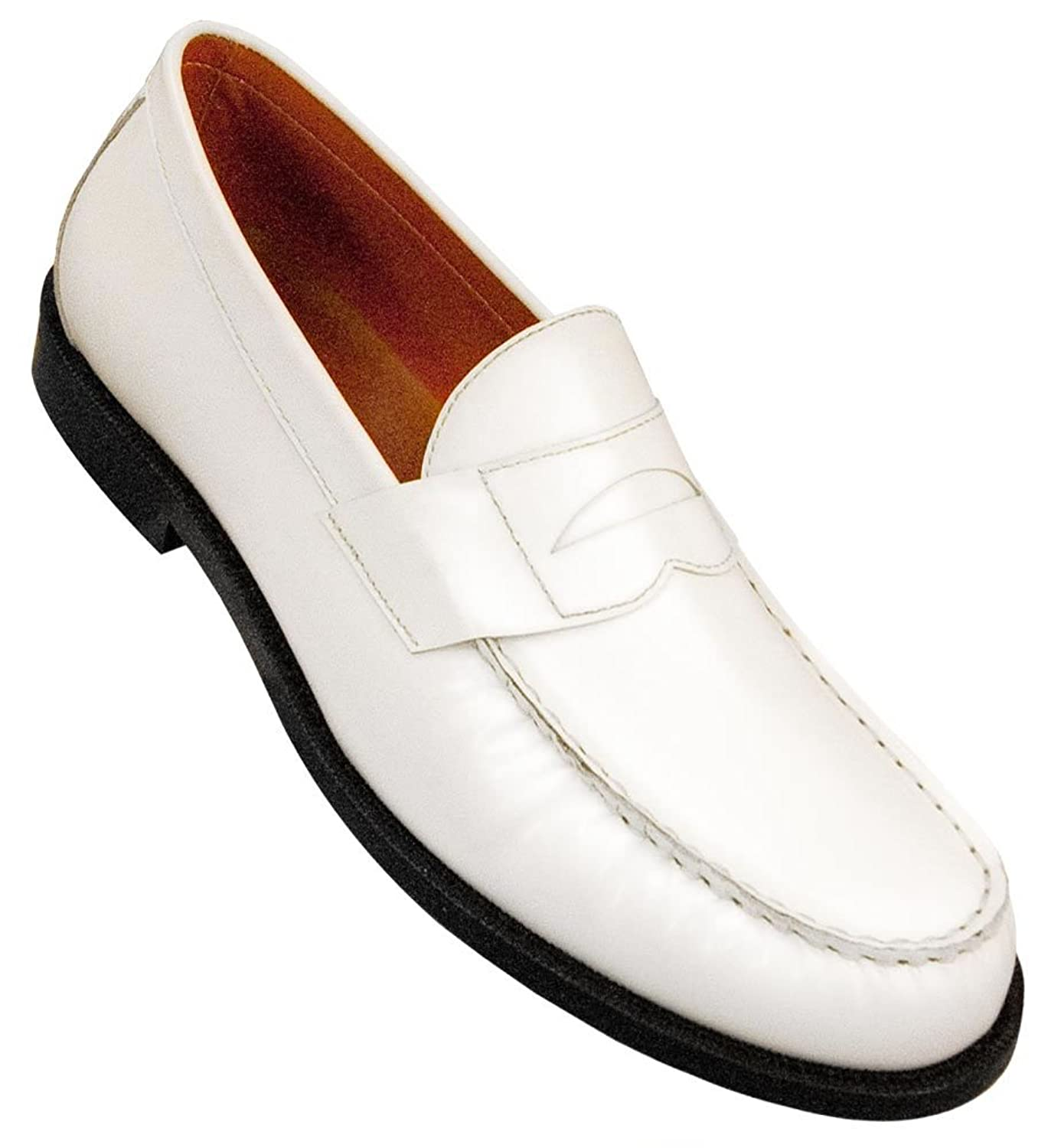 1950s Mens Shoes: Saddle Shoes, Boots, Greaser, Rockabilly Aris Allen Mens White Dance Loafers $48.95 AT vintagedancer.com