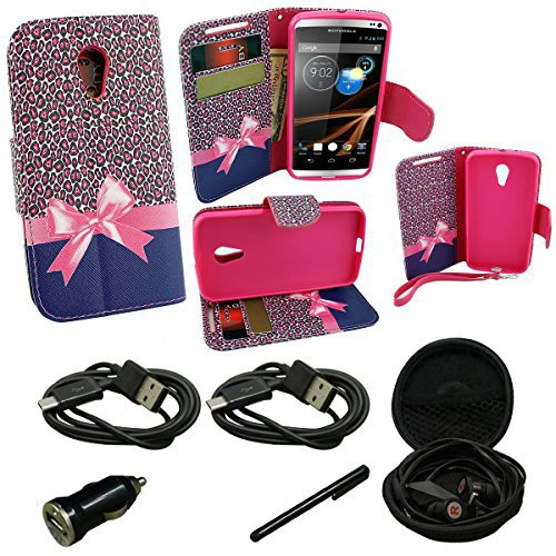 (Mstechcorp - Huawei Tribute Y536 (AT&T) - Design Dual-Use Flip PU Leather BookFold Fold Wallet Pouch Kicktand Case Includes [Car Charger] + [Touch Screen Stylus] + [Hands Free Earphone With Carrying Case] + [2 Data Cables] (WALLET PINK RIBBON))