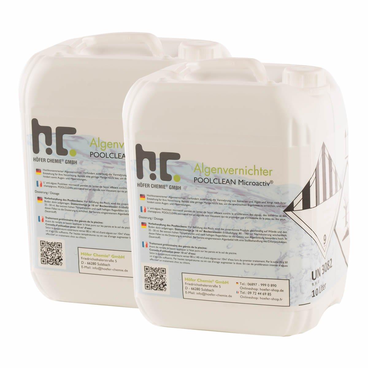 Höfer Chemie 2x10 L Pool Algenvernichter - Anti Algenmittel für Schwimmbad & Pool - schnelle Wirkung bei Algen Höfer Chemie GmbH