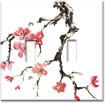Art Plates 2 Gang Toggle Oversized Switch Plate Over Size Wall Plate Pink Cherry Blossoms Amazon Com