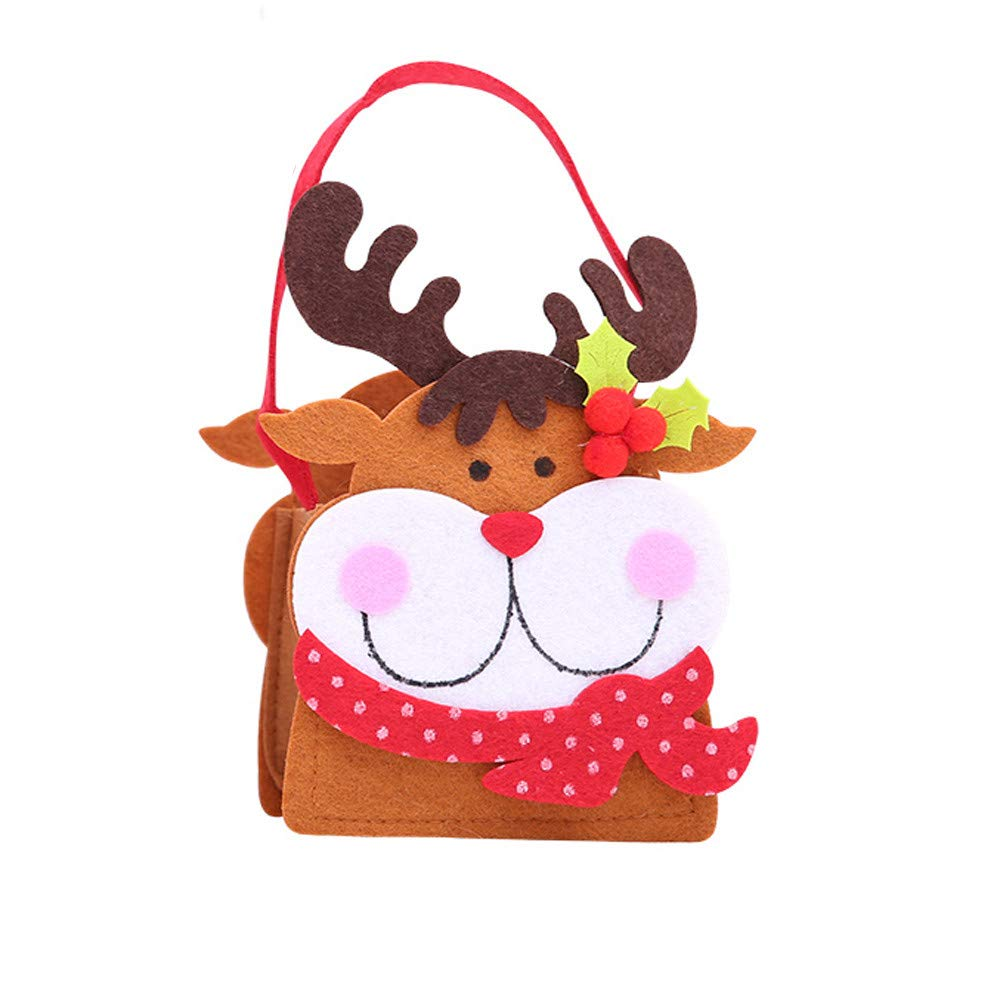Paymenow Christmas Candy Stocking Hanger with Santa Snowman Deer Christmas Socks Gift Bags Treat Bags for Christmas Party Decorations(B)