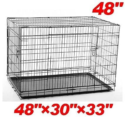 48 Wire Dog Crate   Amazon Com Pawhut 48 2 Door Folding Wire Pet Dog Crate 48 L X