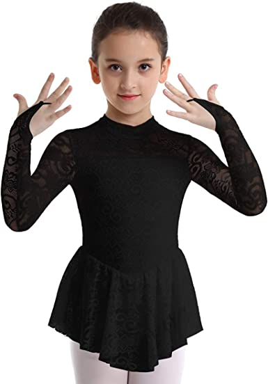 Agoky Girls Floral Lace Mock Neck Sleeveless Figure Ice Roller Skating Dress Gymnastics Leotard