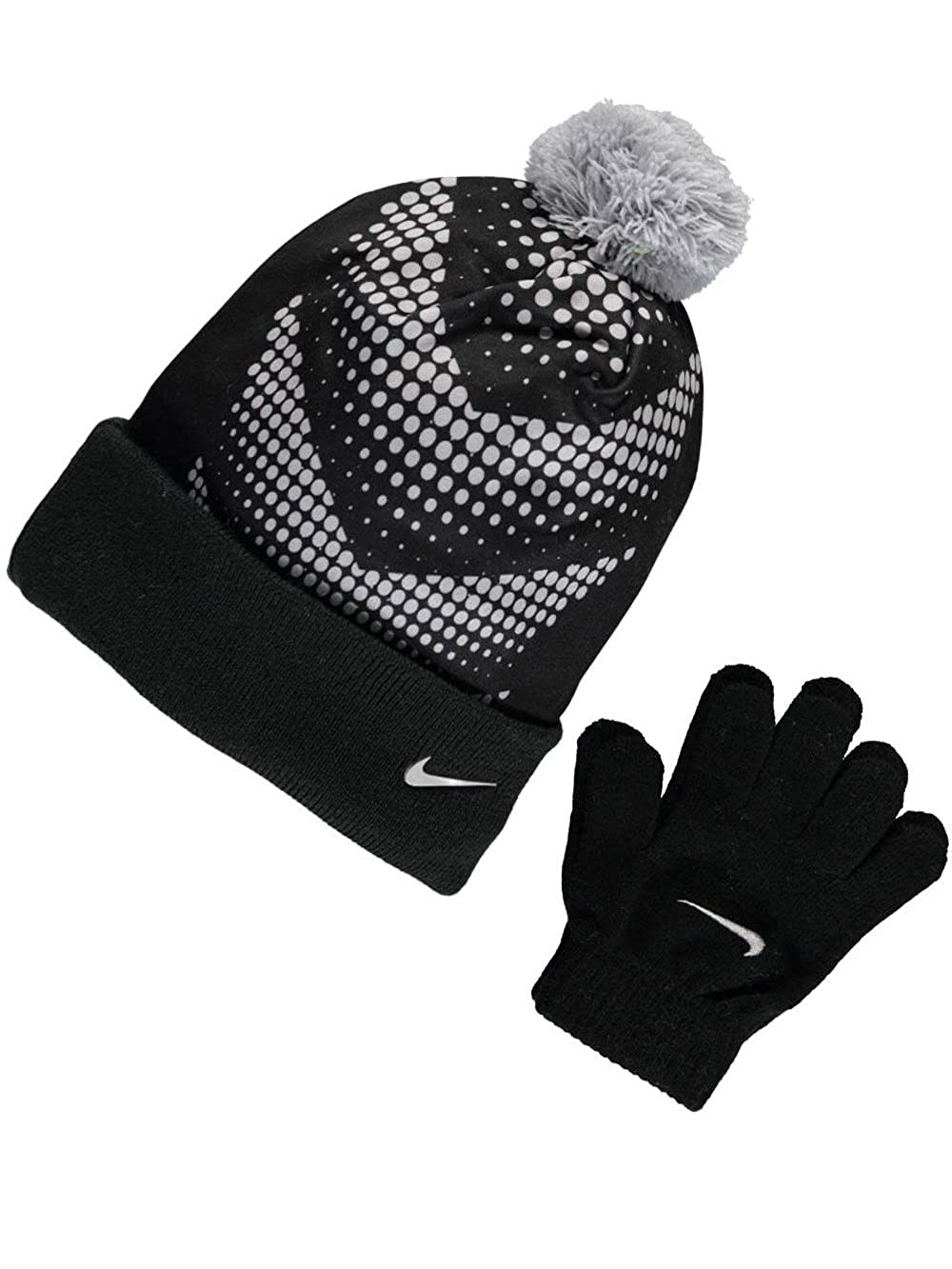 Amazon.com  Nike Performance Knit Beanie   Gloves Set (Big Boys One Size) -  black 965ea3db132