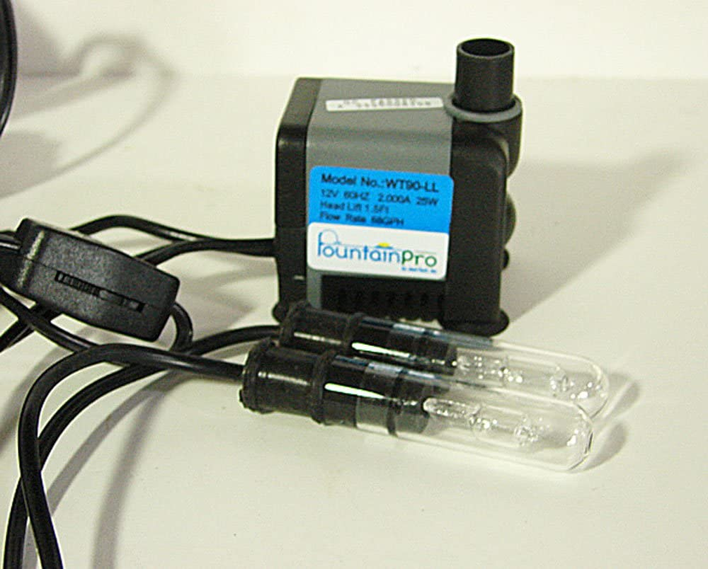 Submersible Fountain Pump with 2 Lights, on/off Switch, and Integral Transformer : Garden & Outdoor