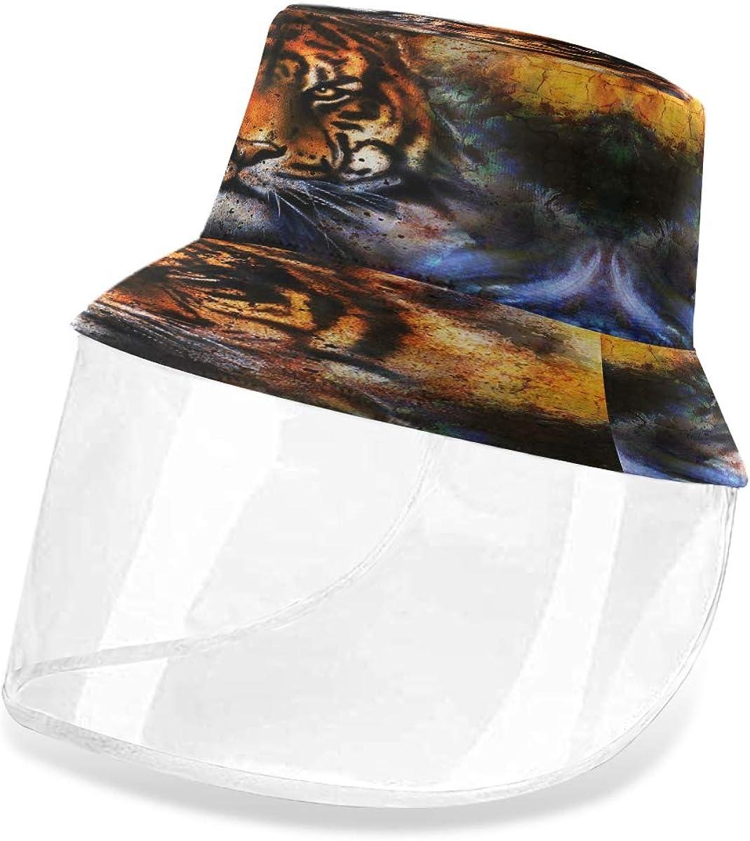 ALARGE - Gorro protector de pescador abstracto con diseño de tigre de galaxia, antipolvo, sol, UV, con máscara de protección facial extraíble, para hombres y mujeres al aire libre