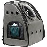 JAHUITE Pet Carrier Backpack, for Large 21 lbs Fat Cats and Medium 16 lbs Dogs Space Capsule Bubble Ventilation Hiking Traveling Foldable Cat and Dog Carrier Backpack (Ash Grey)