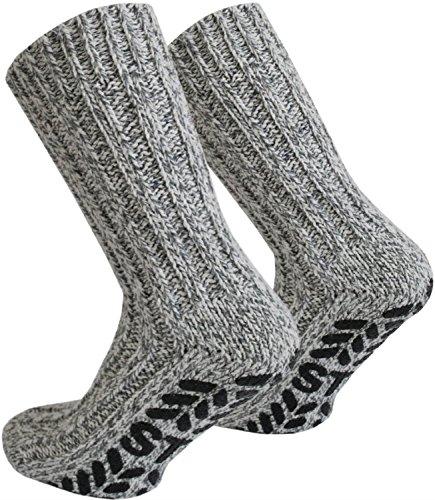 2 Paar Antirutsch Norweger Socken mit ABS Sohle Farbe Mehrfarbig Größe 43/46