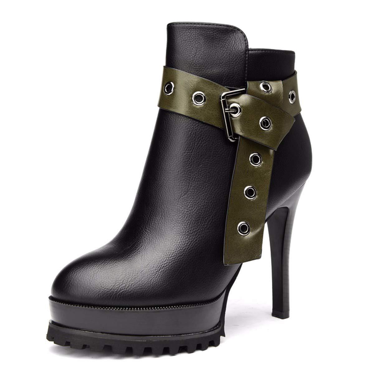 LBTSQ-Mode Damenschuhe Kurze Stiefel Mit Hohen 11Cm Dünne Sohle Wasserdichte Plattform Wild - Gürtel Gürtel Samt Ma Dingxue