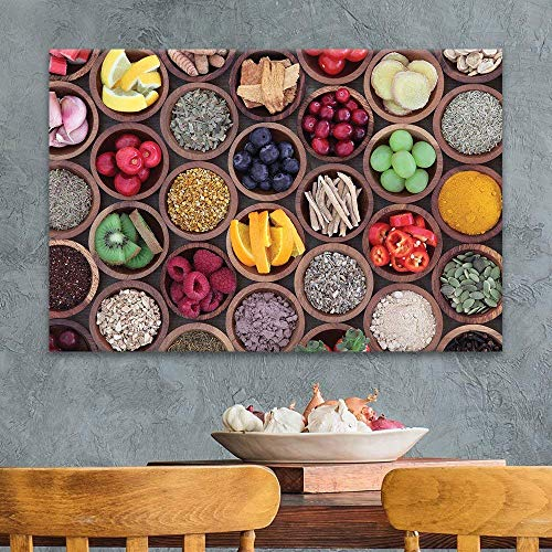 Colorful Fruits and Seasonings in Bamboo Bowls