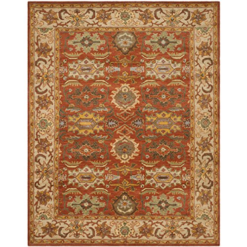 Safavieh Heritage Collection HG734D Handcrafted Traditional Oriental Rust and Beige Wool Area Rug (7'6