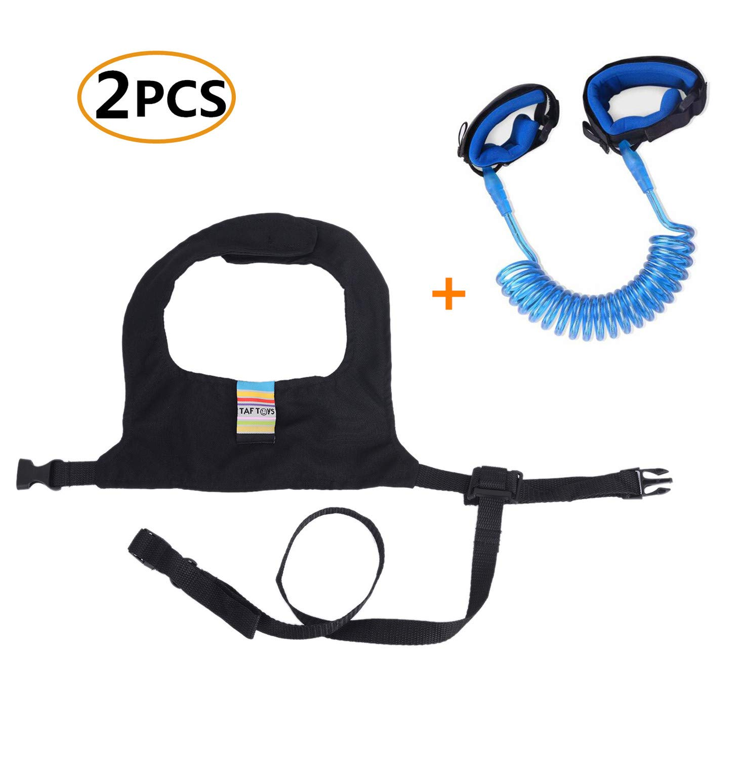 Emwel 1.5M Baby Toddler Restraint Security Harness Strap Leash Walking Hand Belt Child Kids Travel Cares Safety Elastic Wire Rope Anti Lost Wristband Safety Wrist Link Belt Blue