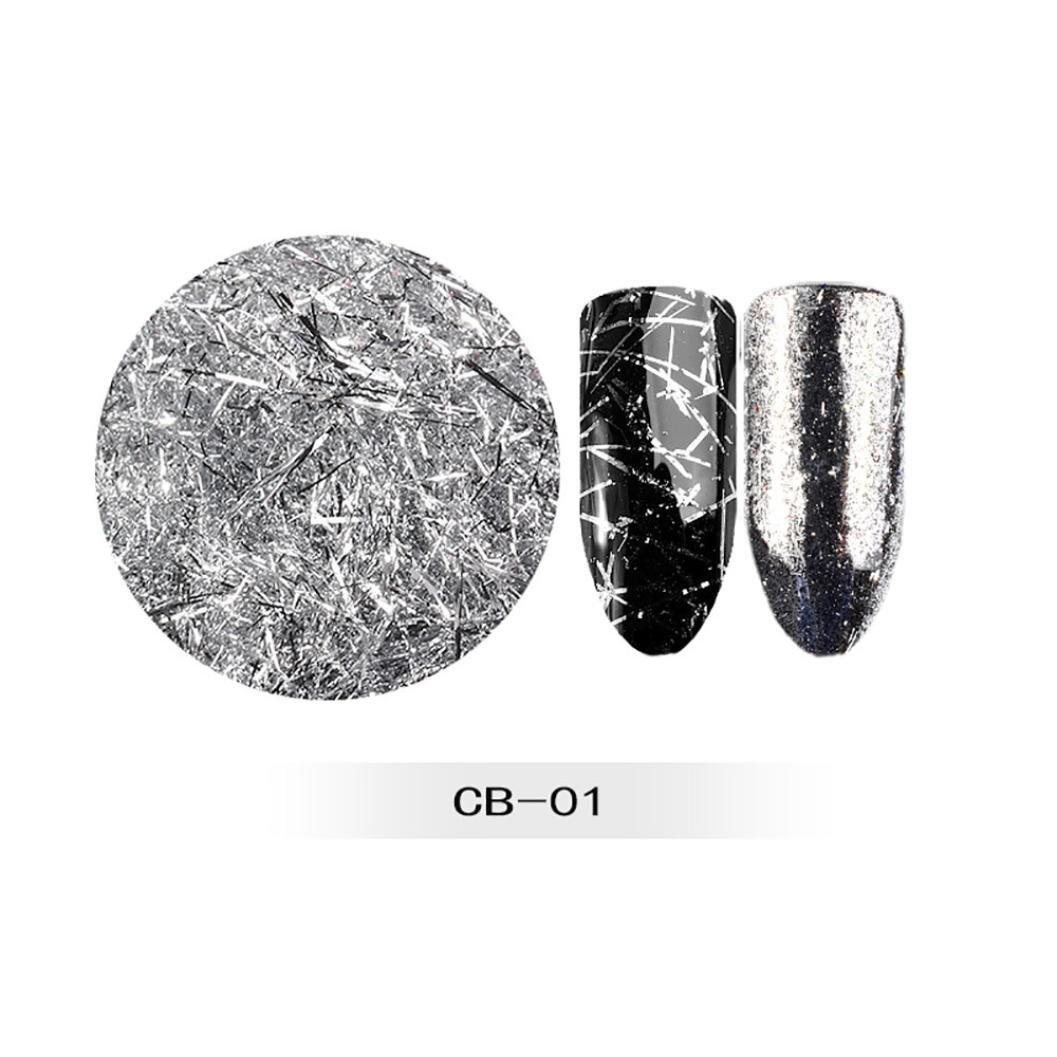 Nail Art,Jinjin New Nail Powder Neon Mirror glitter Mirror Effect Rainbow Crystal Opal Nail Art Decoration (Silver)