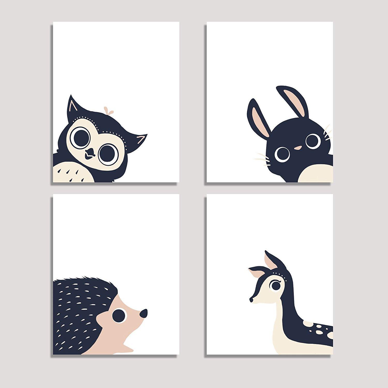 Peeking Animal Collection, Children's Wall Art Prints, Set of Four 11x14 Prints, Forest Nursery, Gender Neutral Nursery Decor, Rabbit, Deer, Owl, Hedgehog Decor, Woodland Nursery, Baby Room Decor