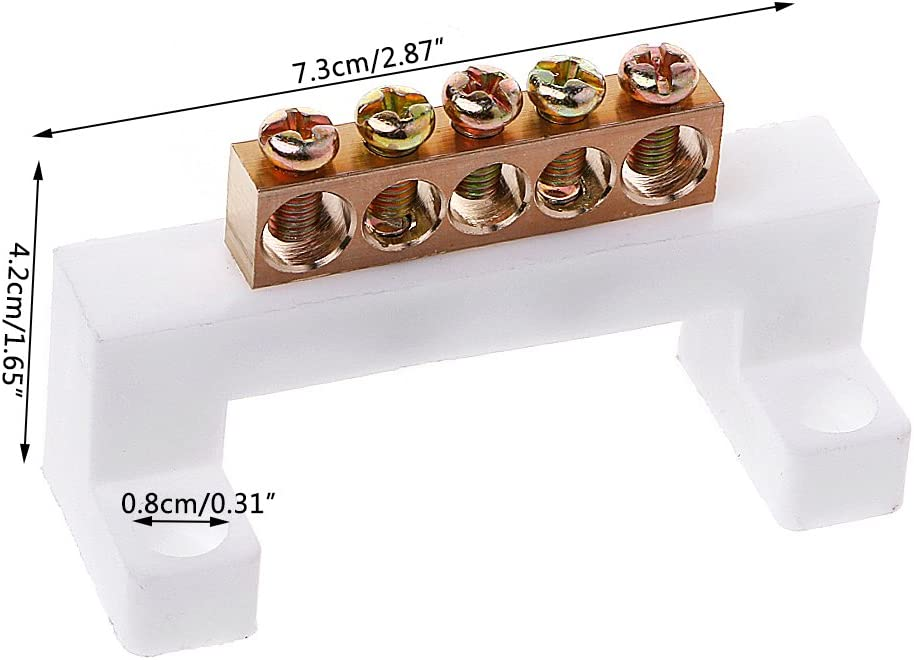 FUXU 5 Positions Electric Cable Connector Screw Barrier Terminal Strip Block Bar