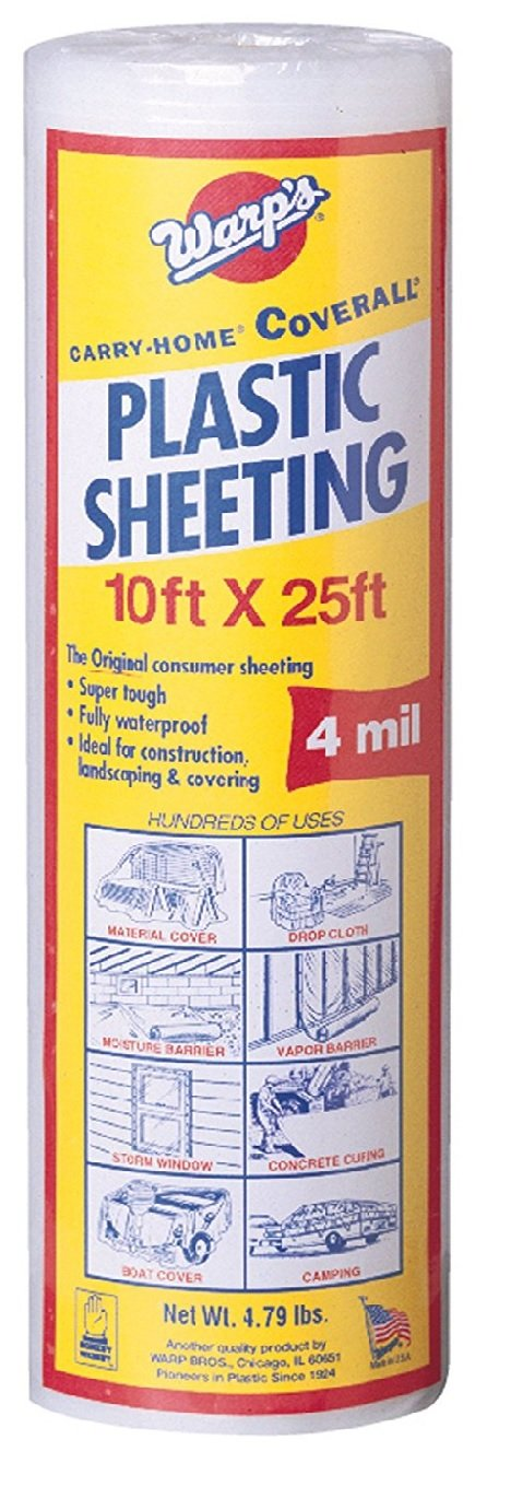 Warp Brothers SP-4CH10-C 4 Mil Carry Home Coverall Clear Plastic Sheeting, 10-Foot by 25-Foot (2)