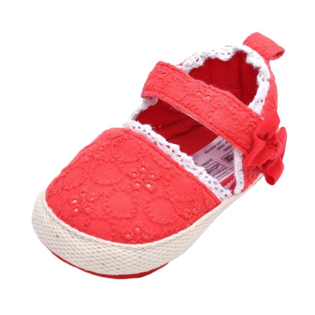 Voberry Baby Girls Lace Trim Soft Sole Anti-Slip Prewalker Toddler Sneaker Shoes