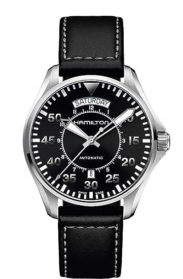Hamilton H64615735 - Reloj de cuarzo para hombre, correa de cuero, color negro: Amazon.es: Relojes