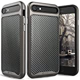 iPhone 7 Leather Case, Vena [vLuxe][Carbon Fiber Leather Back | Metallized Button] Slim Protective Cover for Apple iPhone 7 (4.7') (Black/Space Gray)