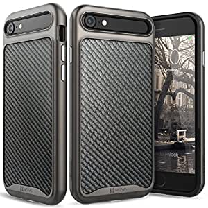 "iPhone 8 Leather Case, iPhone 7 Case, Vena [vLuxe][Carbon Fiber Leather Back | Metallized Button] Slim Protective Cover for Apple iPhone 8 / iPhone 7 (4.7"") (Black/Space Gray)"