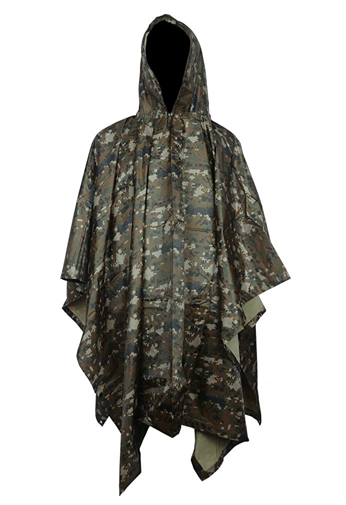 Vcansion Multifunction Rain Poncho, Waterproof Raincoat Hoods Rain Poncho Outdoor Hunting Hiking Activities Women Army Green B0010