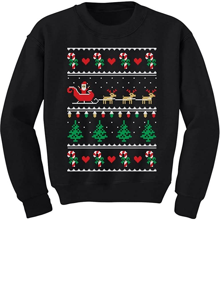 TeeStars Flying Santa Ugly Christmas Sweater Cute Xmas Toddler/Kids Sweatshirts 3T Black GhPh3hPgf5Plf590o