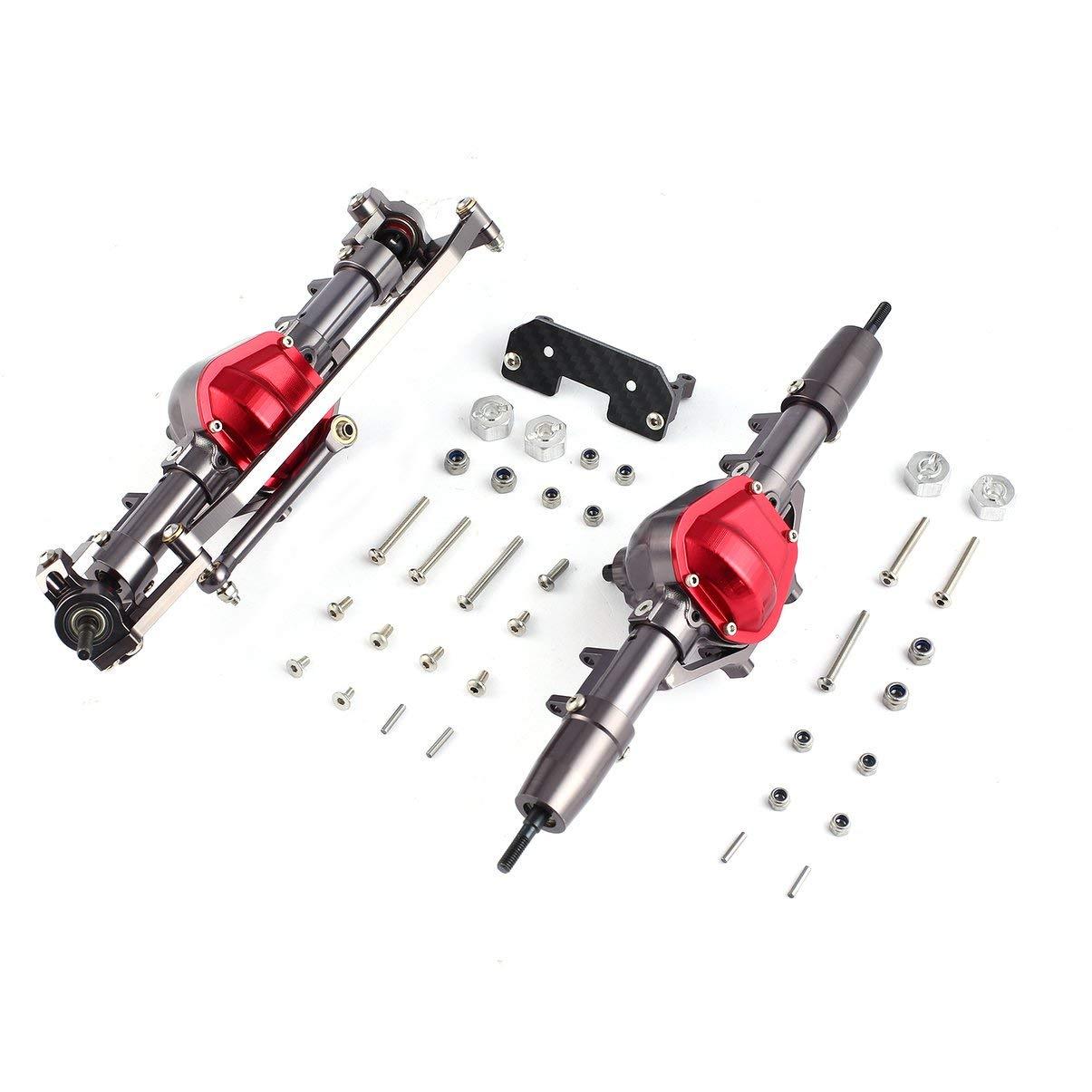Jullyelegant Metalllegierung Vorderachse Hinterachse Kit Zubehör Combo Ersatzteile Komponente für 1/10 D90 RC4WD Yota II RC Auto Crawler