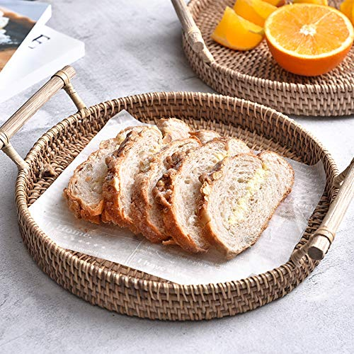 iHogar Rattan Bread Basket Round Woven Tea Tray with Handles for Serving Dinner Parties Coffee Breakfast (8.7 inches)