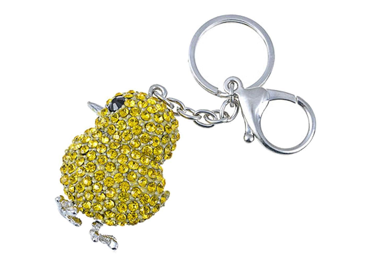 Alilang Canary Yellow Crystal Rhinestone Chicken Chick Peep Bird Cute Easter Key Chain