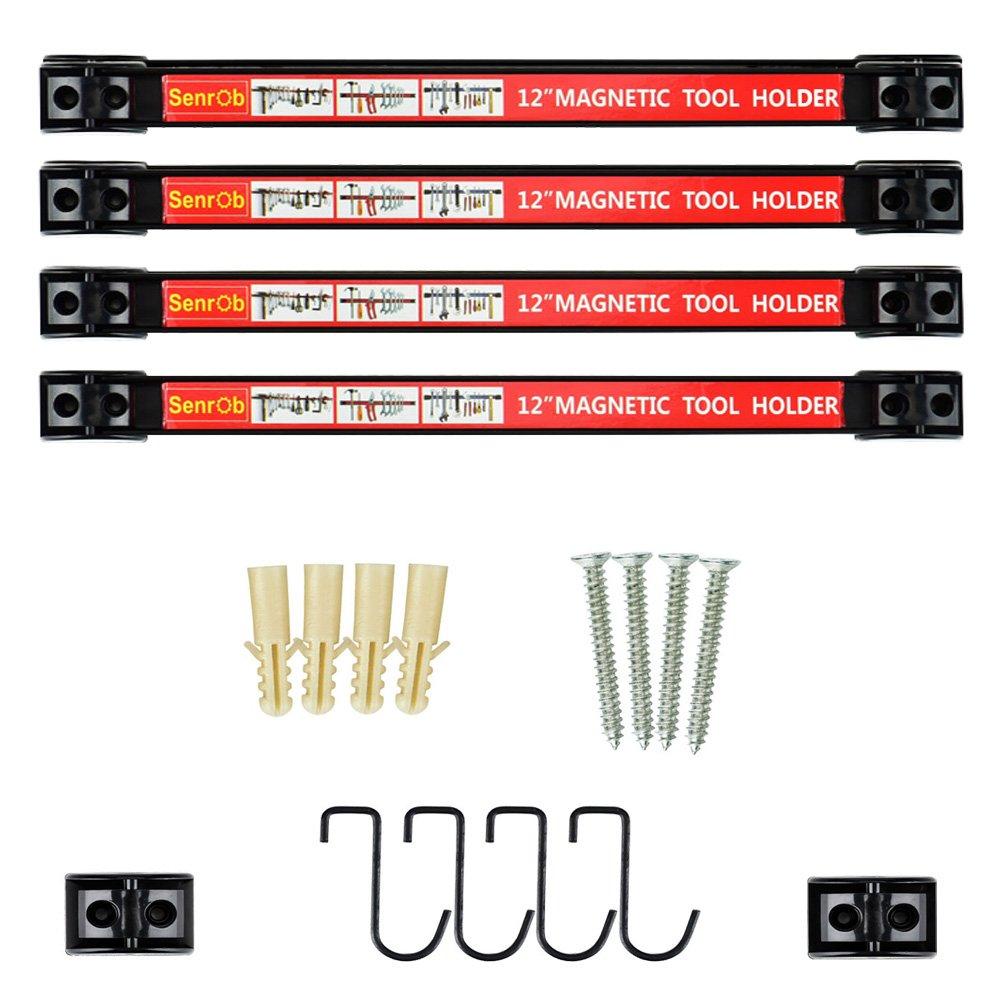 Senrob 4 PCS 12'' Magnetic Tool Holder Bar Racks,Metal Magnet Storage Tool Organizer Set with Mounting Brackets&Screws