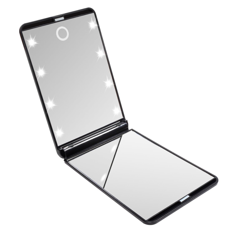 L'Asien LED a illuminé le miroir de maquillage avec 8 lumières menées de Dimmable, miroir de poche de miroir de voyage de contact de contact