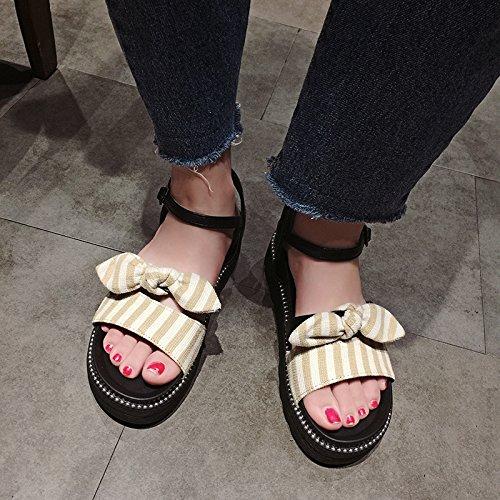 romanos al nueva fondo libre SOHOEOS deportes universitarios zapatos arco de abierta de plataforma ligero gruesa sandalias mujer zapatos de de ligero punta de rá verano sexy viento de aire Beige secado nudo 8Ig4n1qxI