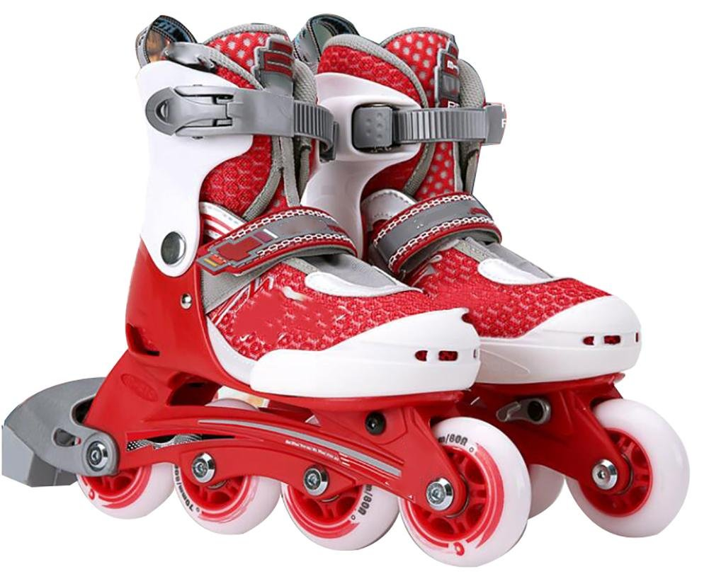 Inline Skates Adjustable PVE Fabric MAX FIT memory liner Red , M , red by WY